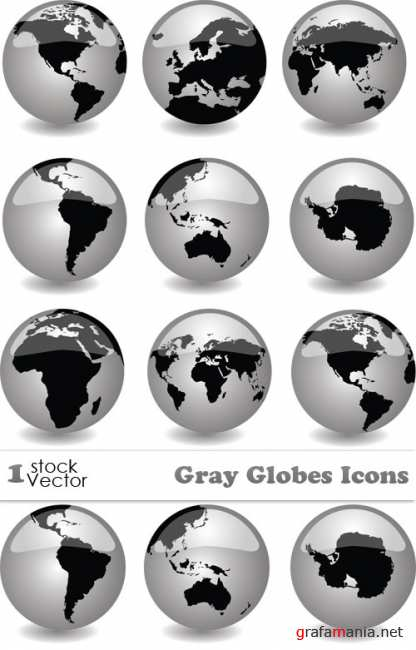 Gray Globes Icons Vector