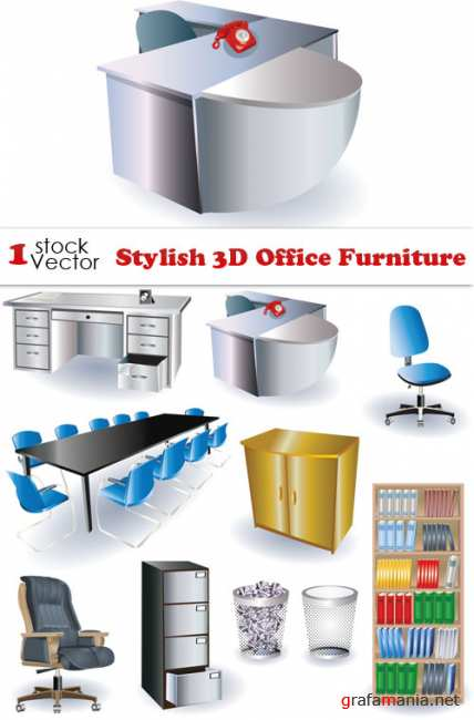 Stylish 3D Office Furniture Vector