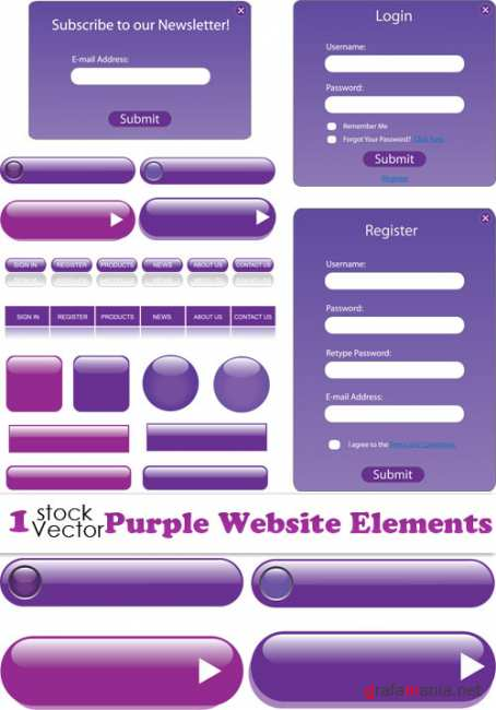 Purple Website Elements Vector