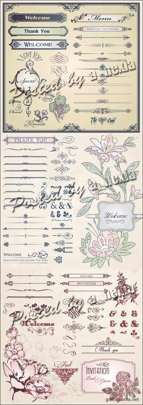 Vintage Flower Elements Vector