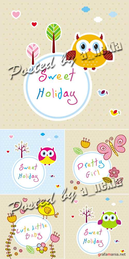 Cute Baby Cards Vector