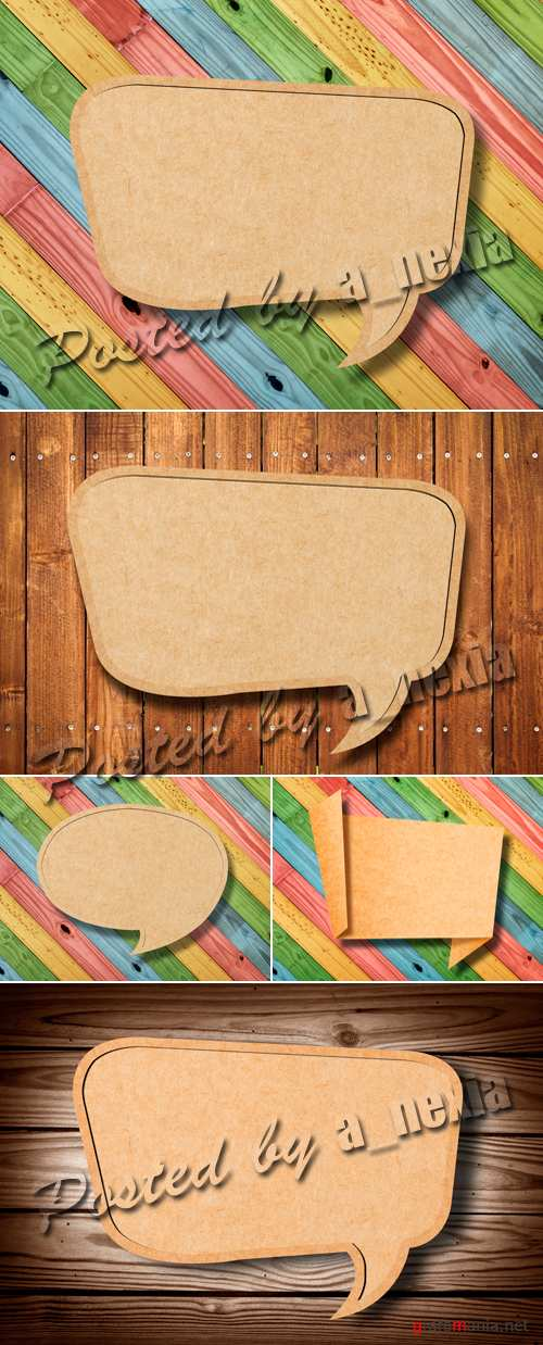Stock Photo - Blank Wooden Speech Bubbles