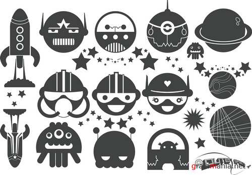 Vector - Black and White Space Cartoons