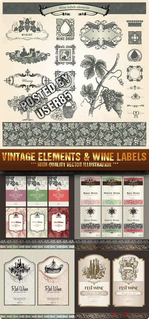 Stock Vector - Vintage Elements & Wine Labels