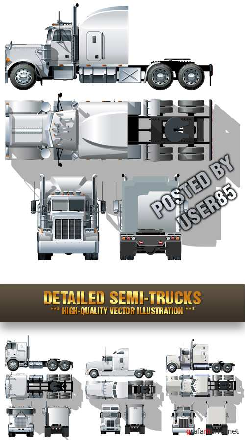 Stock Vector - Detailed Semi-Trucks