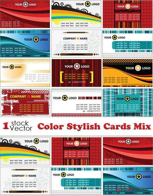 Color Stylish Cards Mix Vector