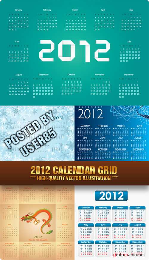 Stock Vector - 2012 Calendar Grid