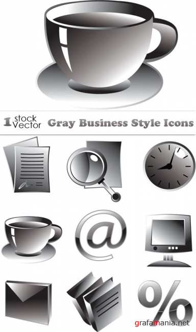 Gray Business Style Icons Vector