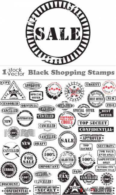 Black Shopping Stamps Vector