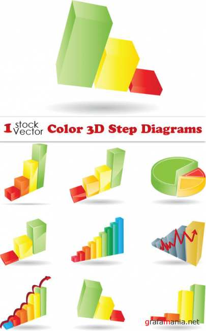 Color 3D Step Diagrams Vector