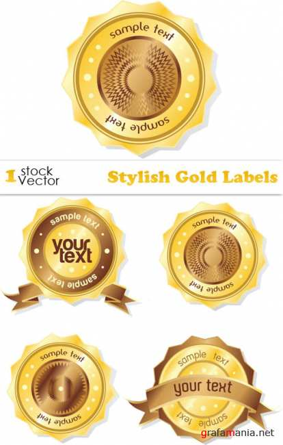 Stylish Gold Labels Vector