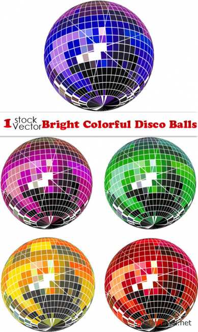 Bright Colorful Disco Balls Vector