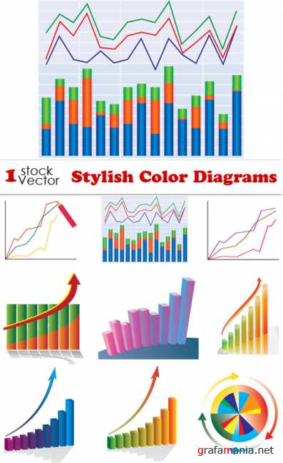 Stylish Color Diagrams Vector