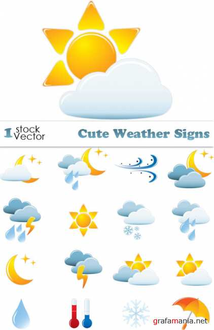 Cute Weather Signs Vector