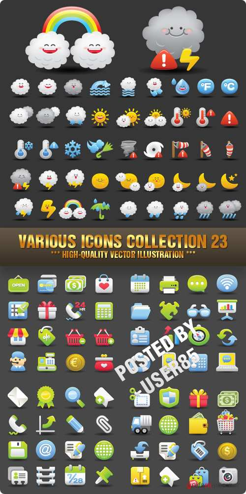 Stock Vector - Various Icons Collection 23