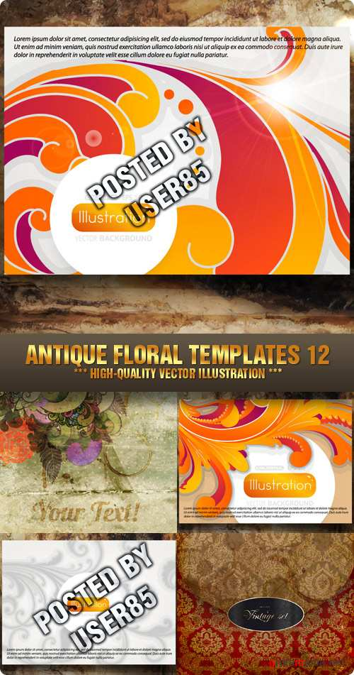 Stock Vector - Antique Floral Templates 12