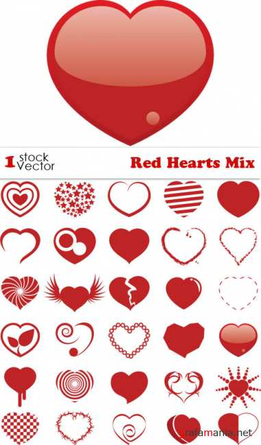 Red Hearts Mix Vector