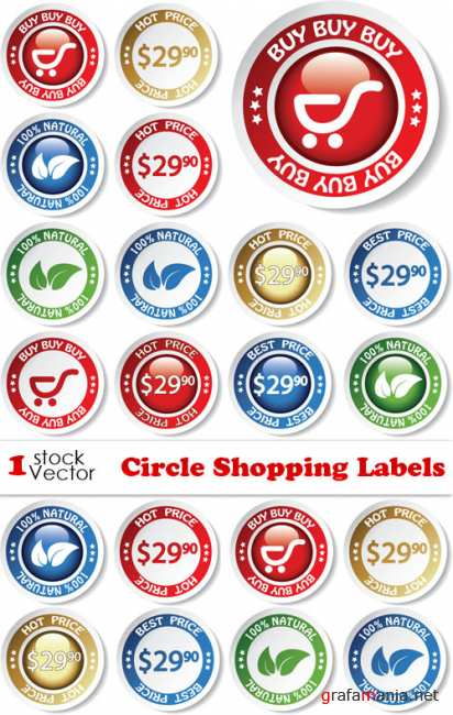 Circle Shopping Labels Vector