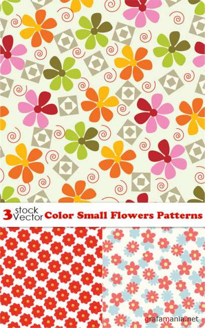 Color Small Flowers Patterns Vector