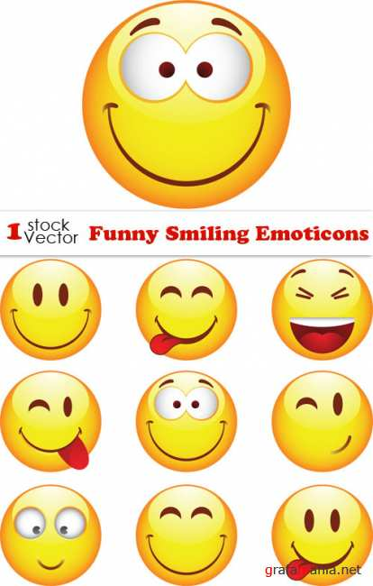 Funny Smiling Emoticons Vector