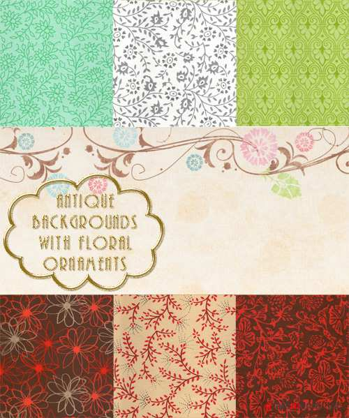 Antique backgrounds with floral ornaments
