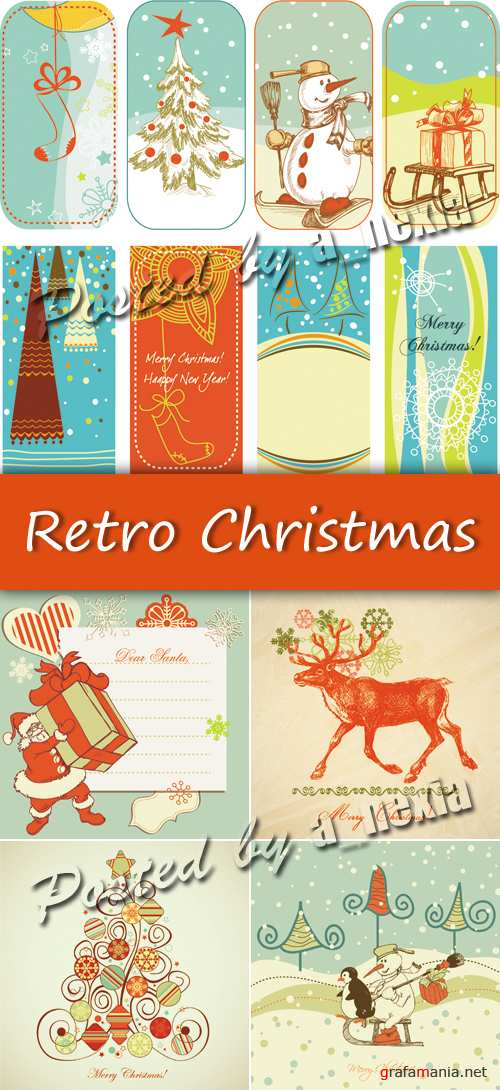 Retro Christmas Backgrounds Vector