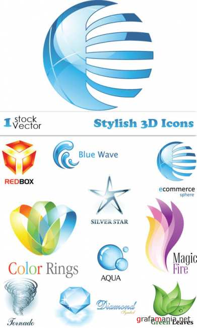 Stylish 3D Icons Vector