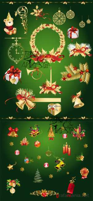 Gold Christmas decorative elements vector