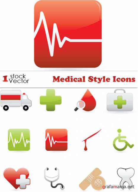 Medical Style Icons Vector