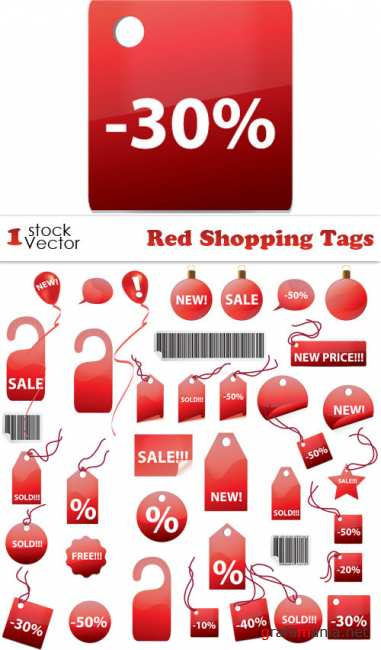 Red Shopping Tags Vector