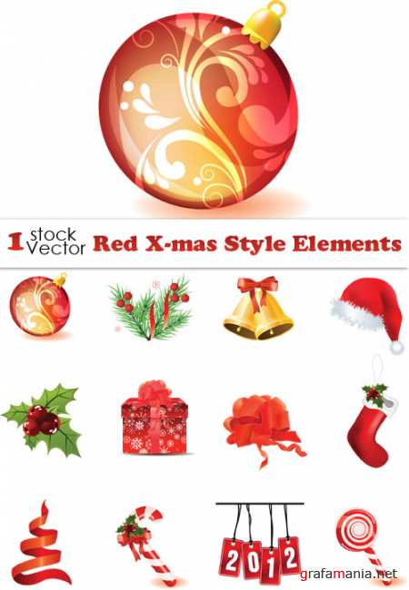 Red X-mas Style Elements Vector