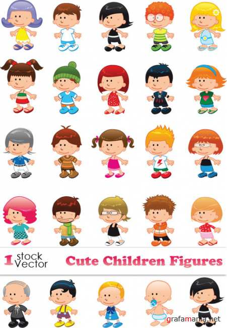 Cute Children Figures Vector