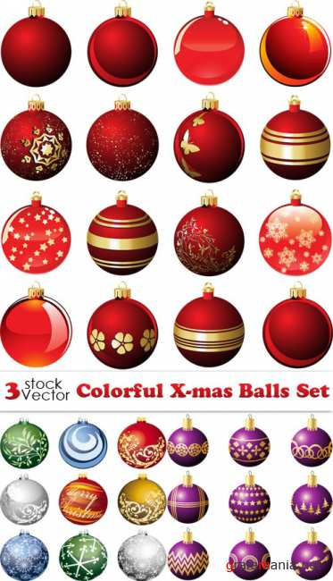 Colorful X-mas Balls Set Vector