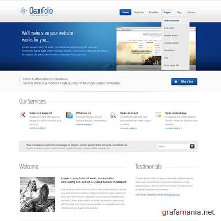Dynamic CSS Templates Web Blog Corporate Blueline