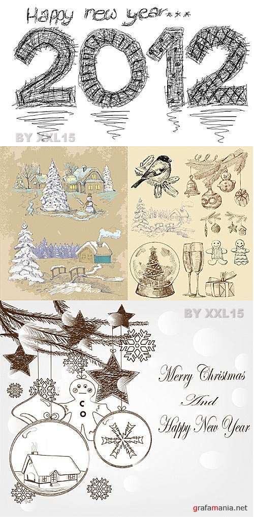 Hand drawn christmas illustrations