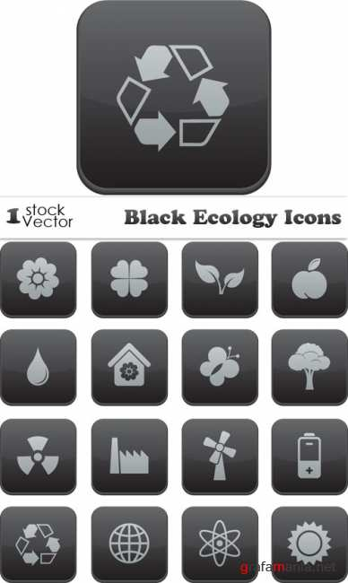 Black Ecology Icons Vector