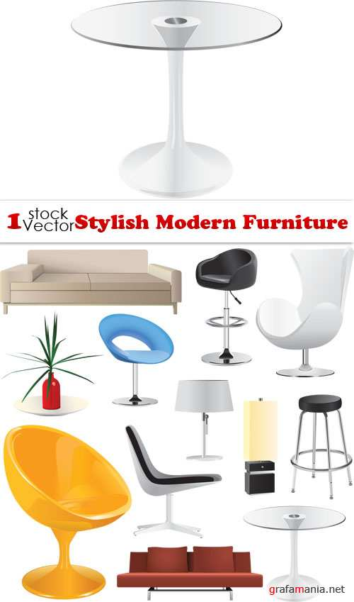 Stylish Modern Furniture Vector