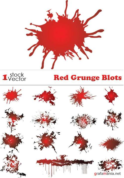 Red Grunge Blots Vector