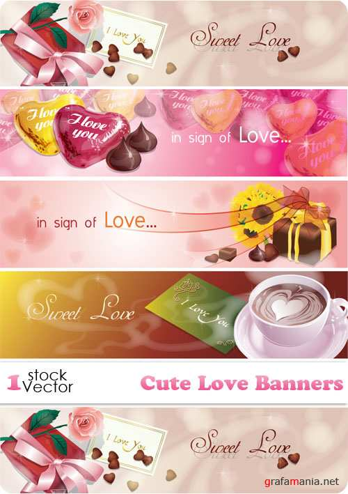Cute Love Banners Vector