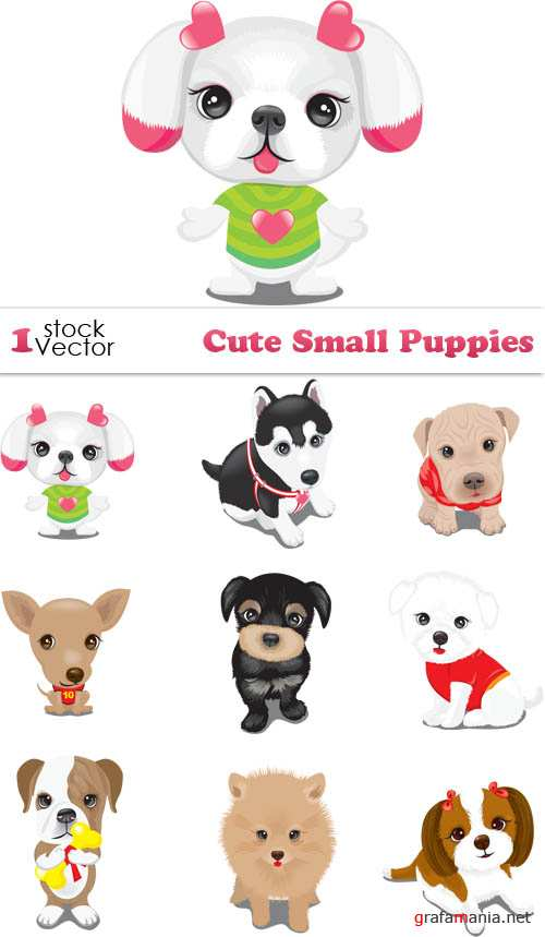 Cute Small Puppies Vector