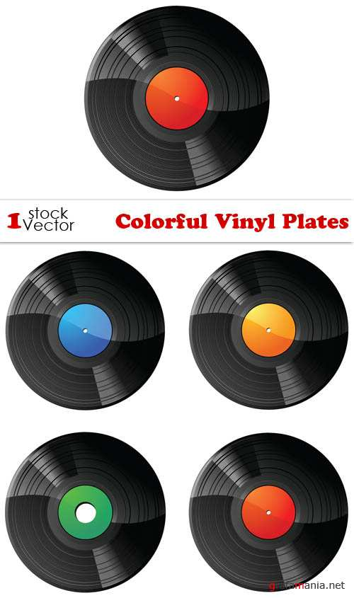 Colorful Vinyl Plates Vector