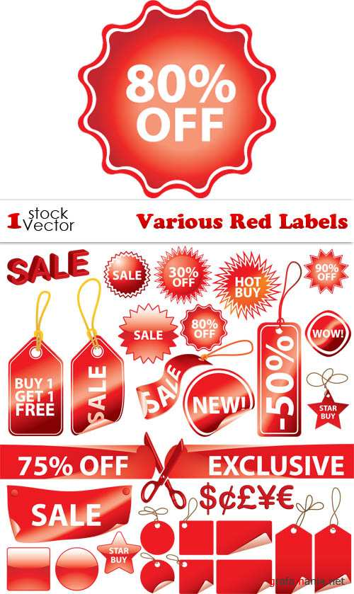 Various Red Labels Vector