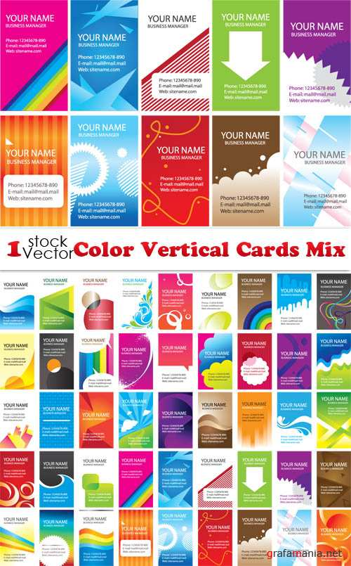 Color Vertical Cards Mix Vector