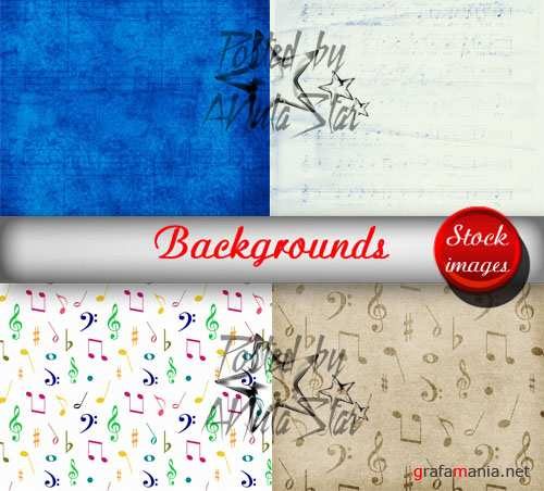 Backgrounds with notes by Diana Creations  Фоны с нотами
