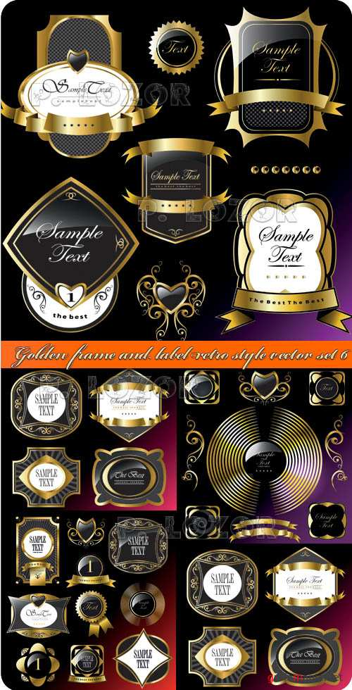Золотые рамки и этикетки часть 6 | Golden frame and label retro style vector set 6