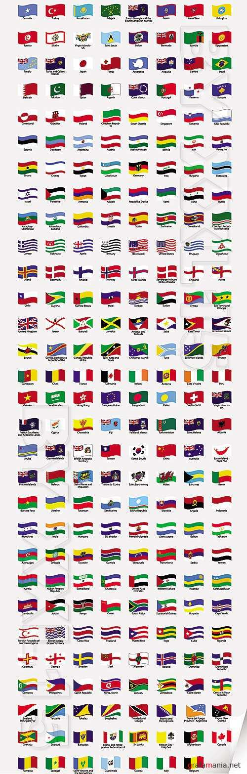 Wavy world flags