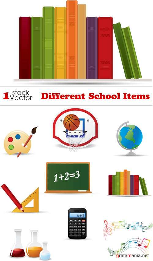 Different School Items Vector