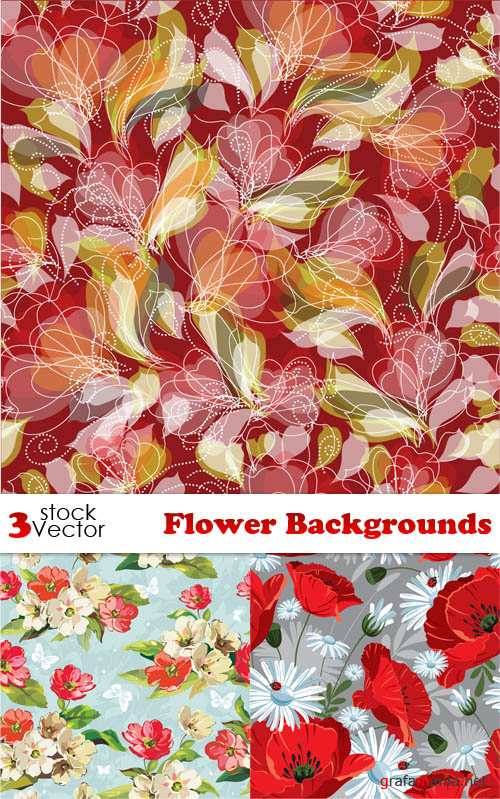 Flower Backgrounds Mix Vector