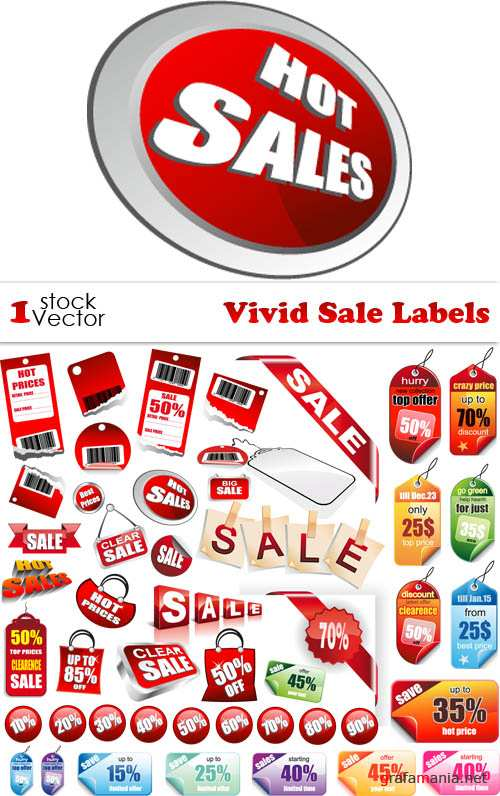 Vivid Sale Labels Vector