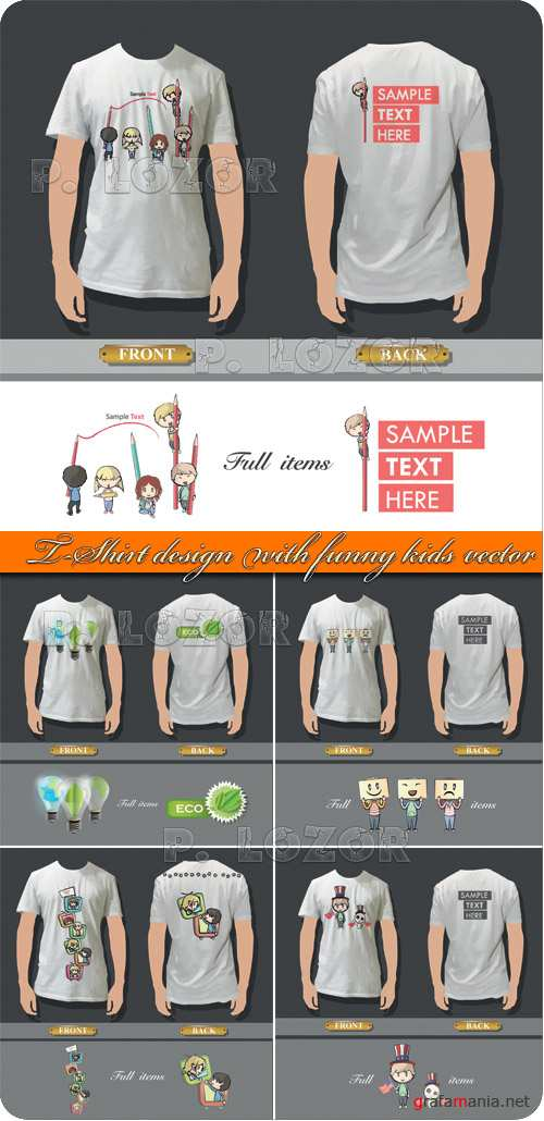 T-Shirt design with funny kids vector
